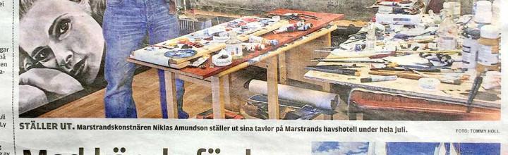 Arikel i Kungälvs-Posten om Niklas och utställningen på Marstrands Havshotell